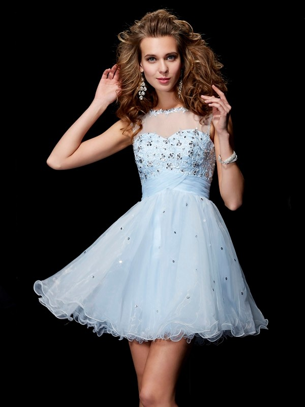 Beautiful A-Line Scoop Sleeveless Short Elastic Woven Satin Homecoming Dress