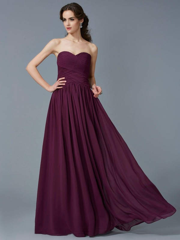 Beautiful A-Line Sweetheart Sleeveless Chiffon Long Dress