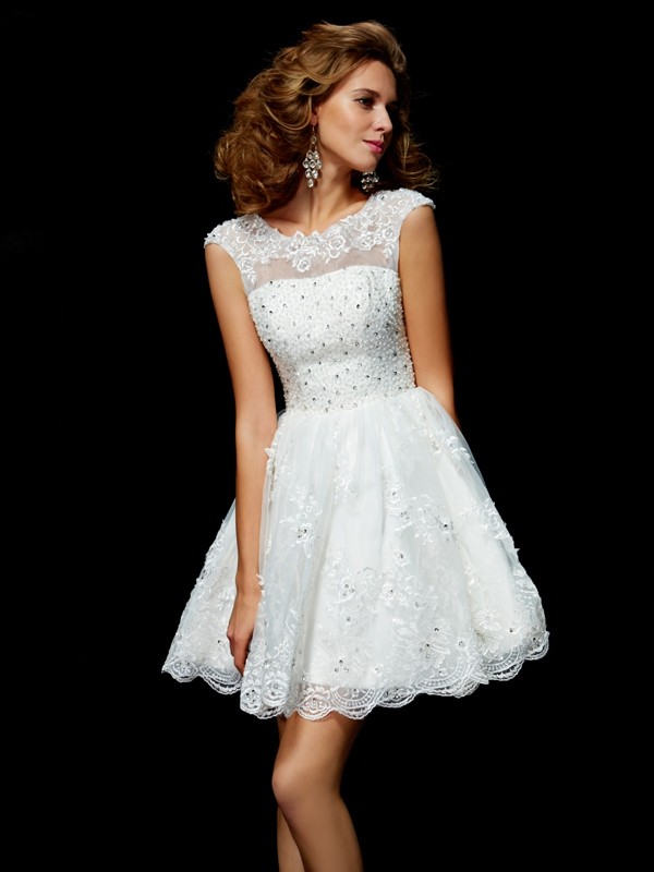 Beautiful A-Line V-neck Short Sleeves Short Organza Homecoming Dress