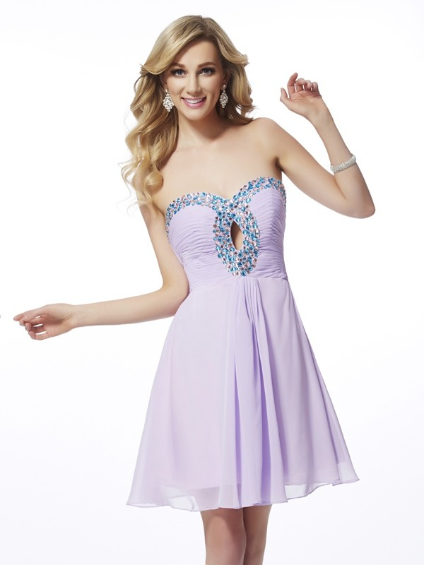 Beautiful A-Line Sweetheart Sleeveless Chiffon Short Homecoming Dress