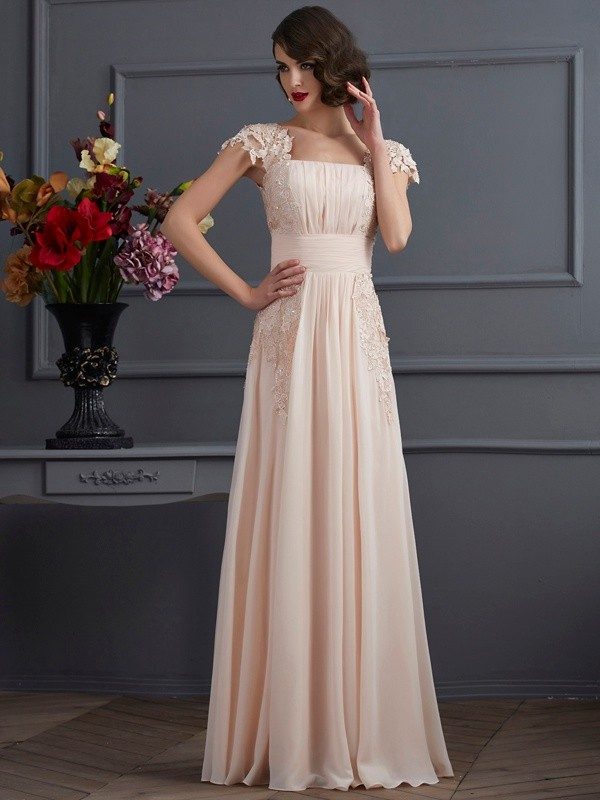 Beautiful A-Line Square Short Sleeves Lace Long Chiffon Dress