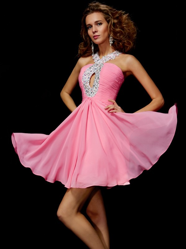 Beautiful A-Line V-neck Sleeveless Sequin Short Chiffon Homecoming Dress
