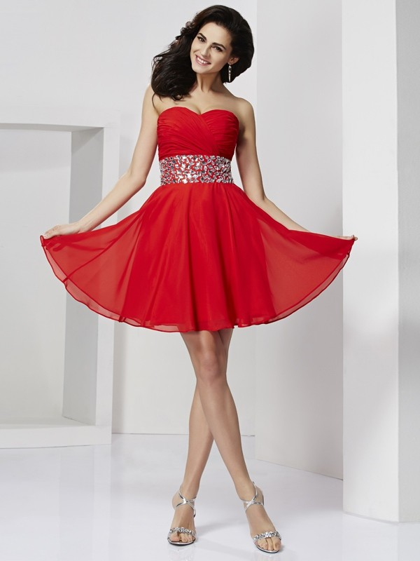 Elegant A-Line Sweetheart Sleeveless Short Chiffon Homecoming Dress