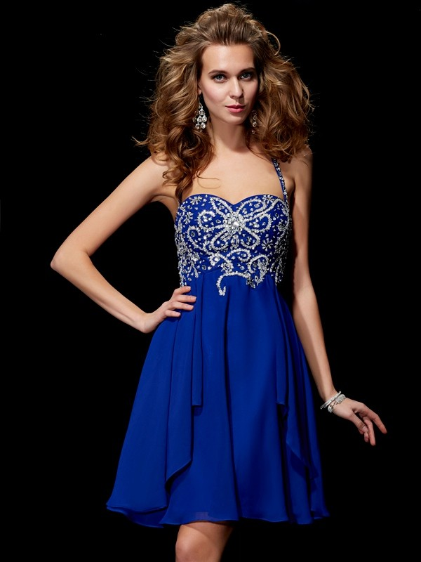 Elegant A-Line Halter Sleeveless Short Chiffon Homecoming Dress