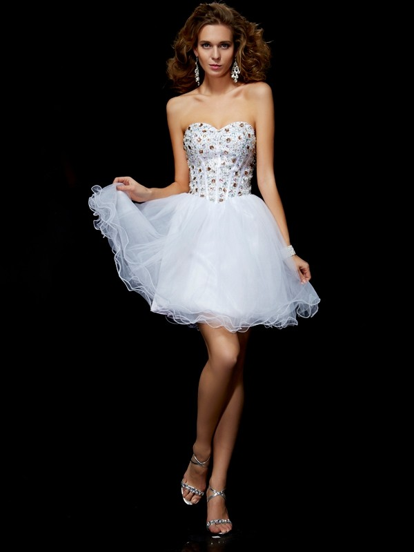 Elegant Sheath Sweetheart Sleeveless Short Elastic Woven Satin Homecoming Dress