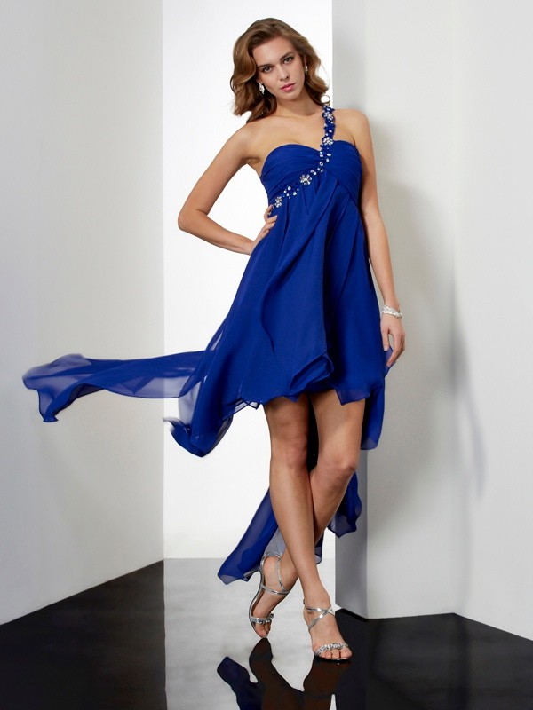 Elegant A-Line One-Shoulder Sleeveless High Low Chiffon Dress