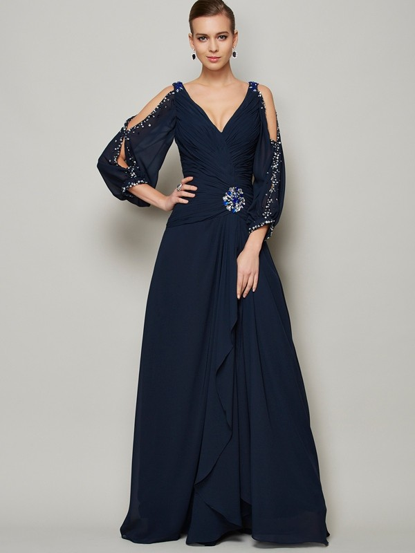 Elegant A-Line V-neck Long Sleeves Long Chiffon Dress