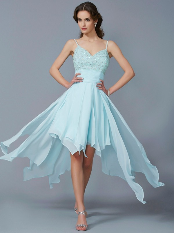 Elegant A-Line Spaghetti Straps Sleeveless High Low Chiffon Homecoming Dress