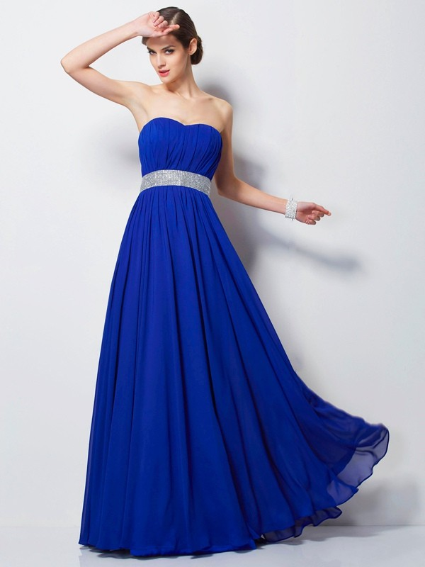 Elegant Empire Sweetheart Sleeveless Long Chiffon Dress
