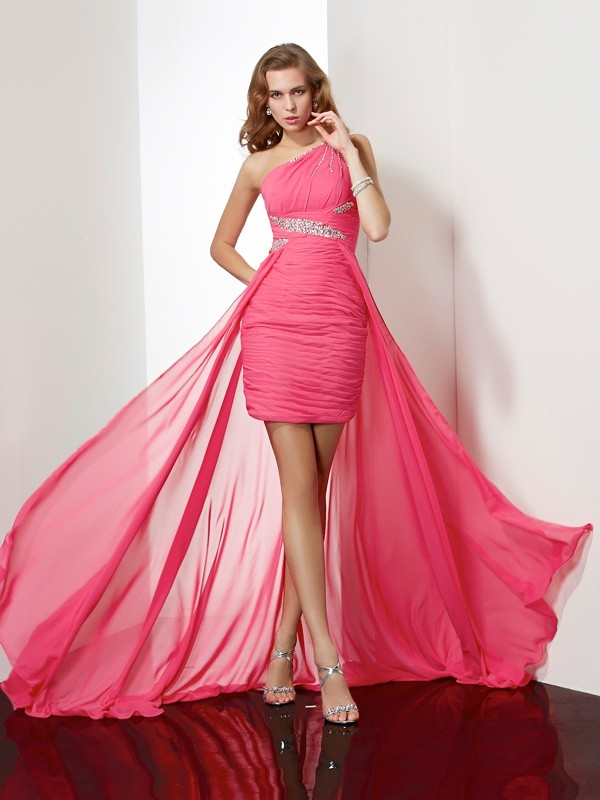 Elegant Sheath One-Shoulder Sleeveless Short Chiffon Homecoming Dress