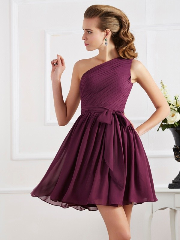 Elegant A-Line One-Shoulder Sleeveless Short Chiffon Bridesmaid Dress