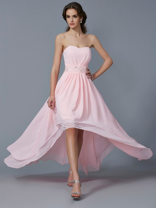 Elegant A-Line Sweetheart Sleeveless High Low Chiffon Homecoming Dress