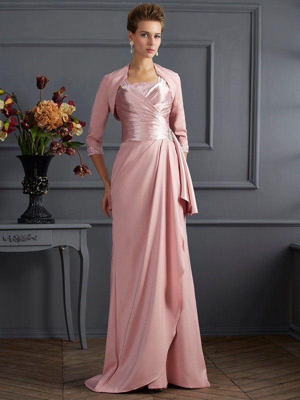 Chic Sheath Straps Sleeveless Long Elastic Woven Satin Mother of the Bride Dress