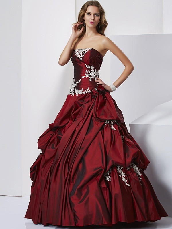 Chic Ball Gown Sweetheart Sleeveless Long Taffeta Quinceanera Dress