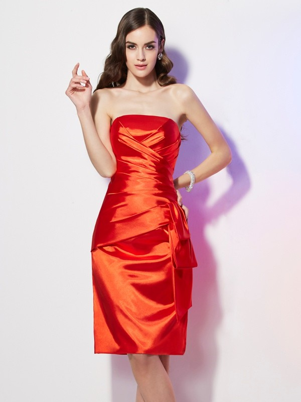 Chic Sheath Strapless Sleeveless Short Elastic Woven Satin Dress