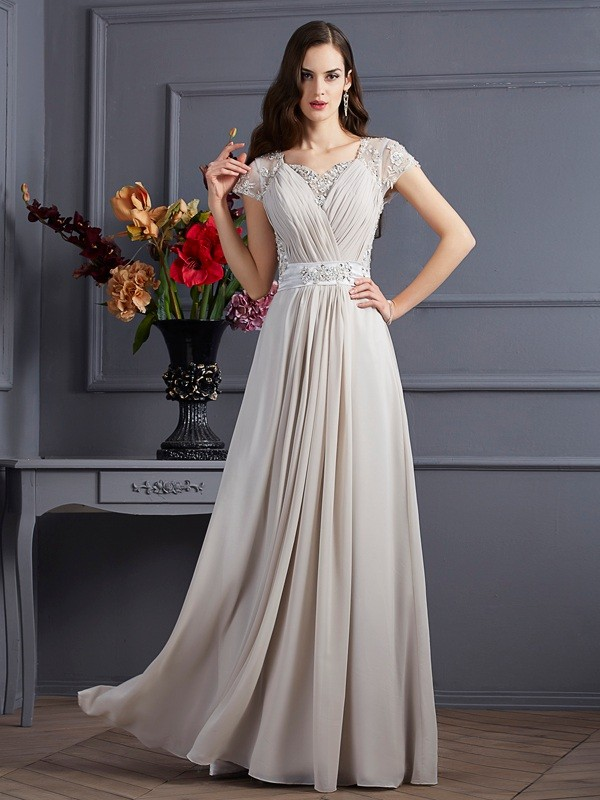Chic A-Line Sweetheart Short Sleeves Long Chiffon Dress