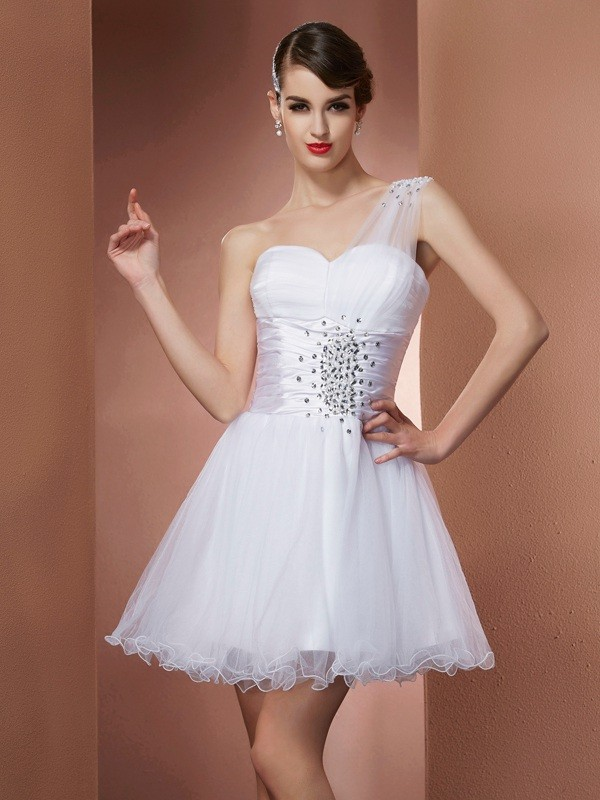 Chic A-Line One-Shoulder Sleeveless Short Net Homecoming Dress