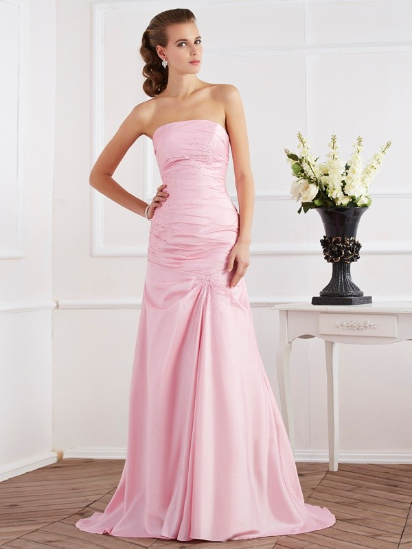 Chic Mermaid Strapless Sleeveless Long Taffeta Dress