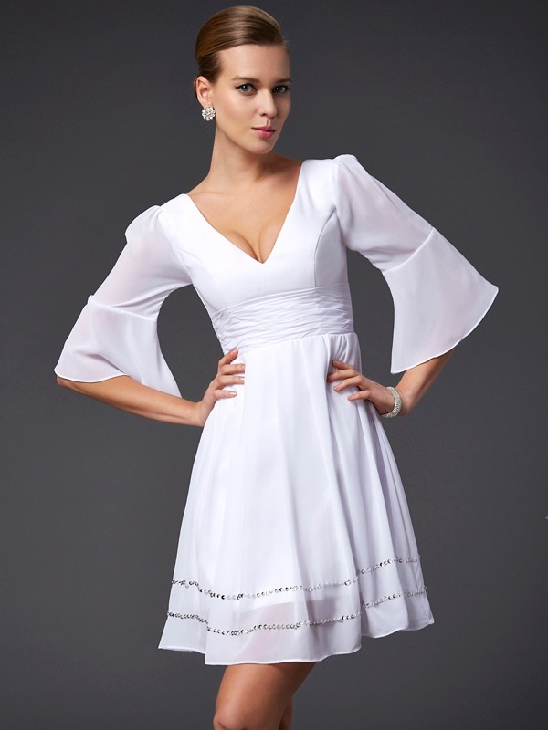 Chic A-Line V-neck 1/2 Sleeves Short Chiffon Bridesmaid Dress