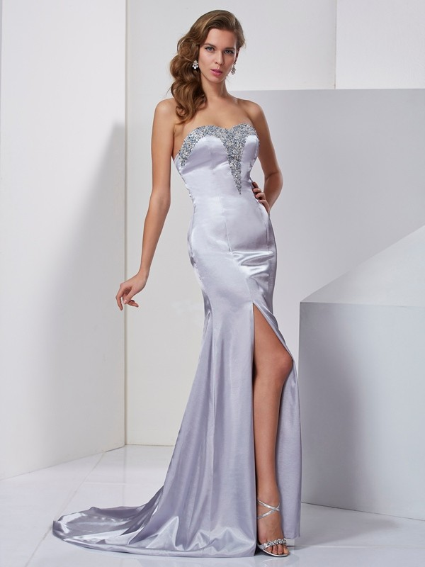 Chic A-Line Sweetheart Sleeveless Long Elastic Woven Satin Dress