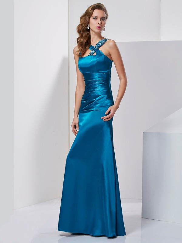 Chic Sheath Straps Sleeveless Long Silk like Satin Dress