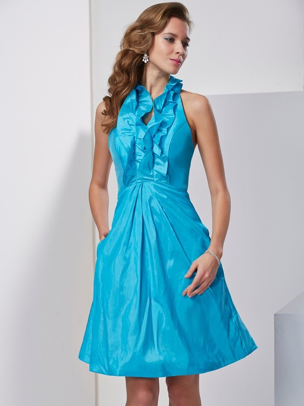 Chic A-Line Halter Sleeveless Short Taffeta Homecoming Dress