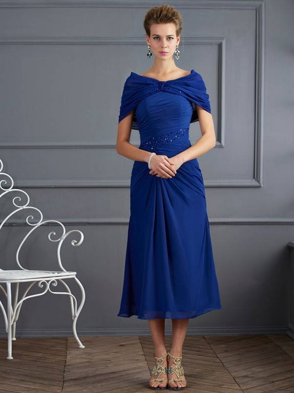 Stylish Sheath Scoop Short Sleeves Short Chiffon Mother of the Bride Dress