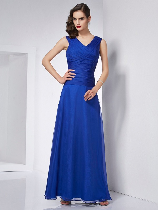Stylish A-Line V-neck Sleeveless Long Chiffon Dress