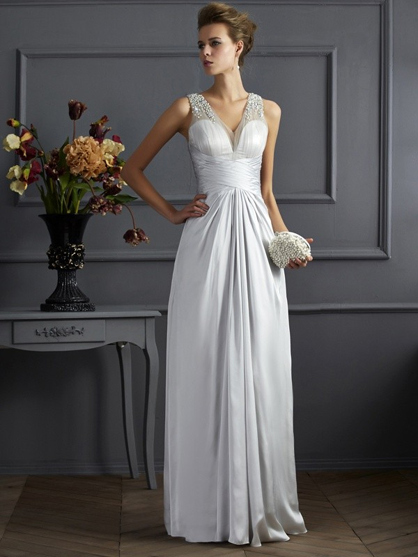 Stylish A-Line Straps Sleeveless Long Silk like Satin Dress
