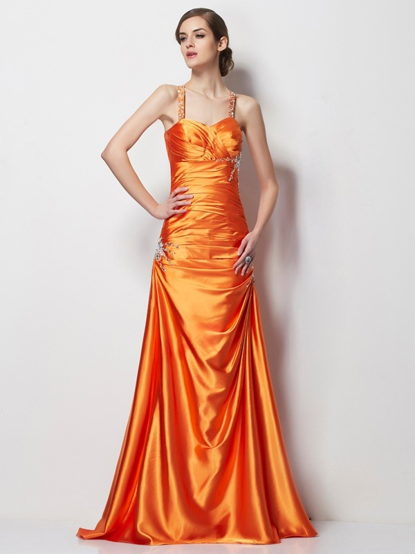 Stylish A-Line Spaghetti Straps Sleeveless Long Elastic Woven Satin Dress