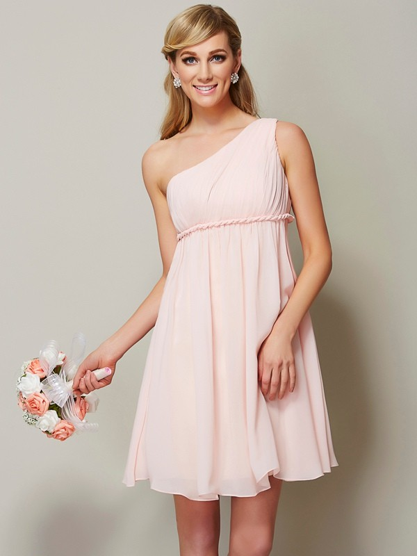 Fashion A-Line One-Shoulder Sleeveless Short Chiffon Bridesmaid Dress