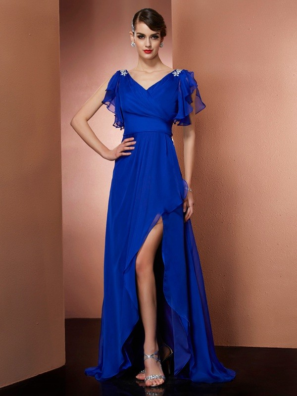 Fashion A-Line V-neck Sleeveless High Low Chiffon Dress