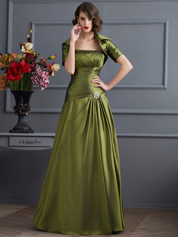 Fashion A-Line Strapless Sleeveless Long Taffeta Mother of the Bride Dress