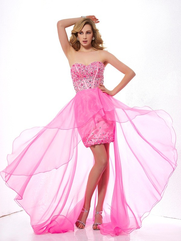 Fashion A-Line Sweetheart Sleeveless High Low Organza Dress