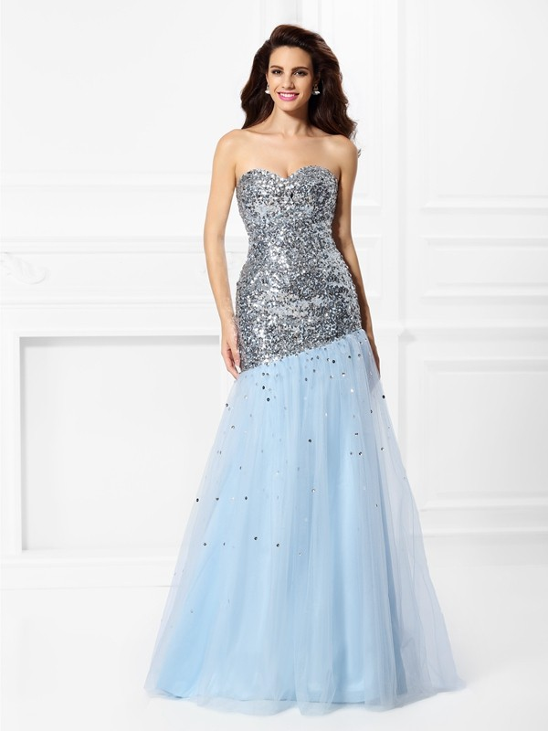 Fashion Mermaid Sweetheart Sequin Sleeveless Long Satin Dress