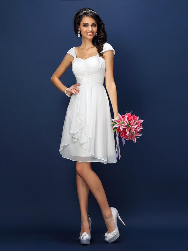 Fashion A-Line Straps Sleeveless Short Chiffon Bridesmaid Dress