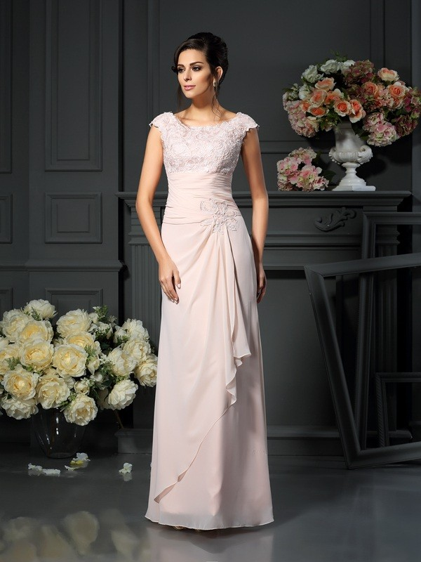 Fashion A-Line Scoop Lace Sleeveless Long Chiffon Mother of the Bride Dress