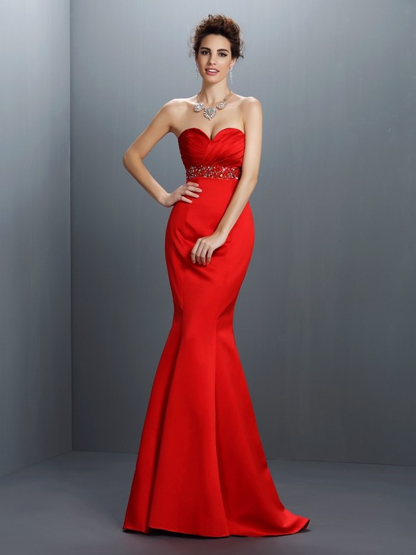 Fashion Mermaid Sweetheart Sleeveless Long Satin Dress