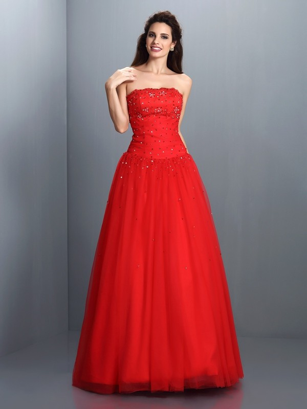 Fashion Ball Gown Strapless Sleeveless Long Organza Quinceanera Dress