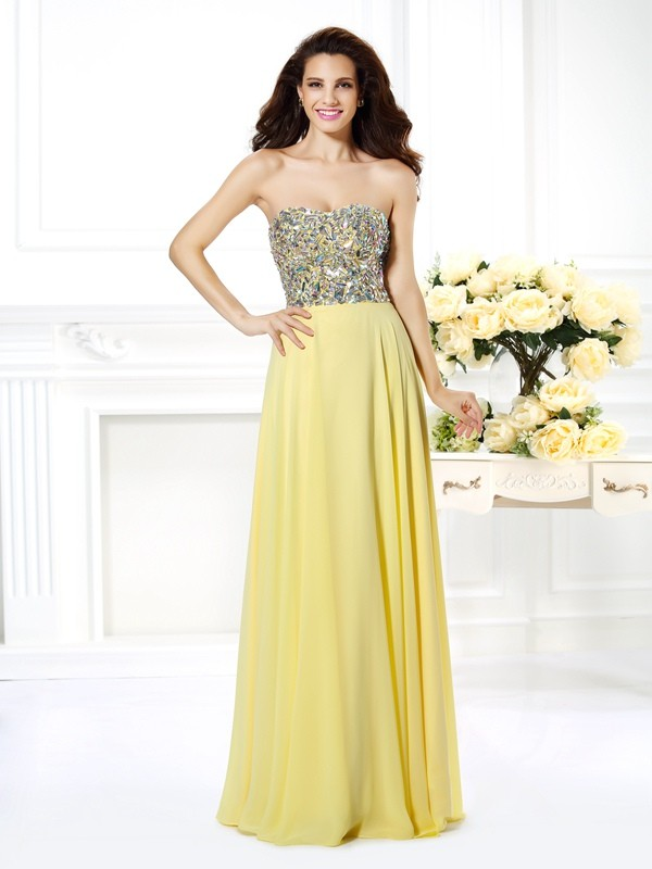 Exquisite A-Line Strapless Sleeveless Long Chiffon Dress