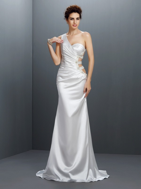 Exquisite Mermaid One-Shoulder Sleeveless Long Elastic Woven Satin Dress