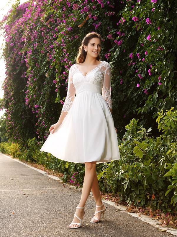 Exquisite A-Line V-neck 3/4 Sleeves Short Chiffon Wedding Dress