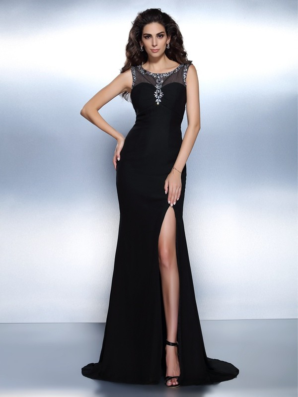 Exquisite Mermaid Bateau Sleeveless Long Chiffon Dress
