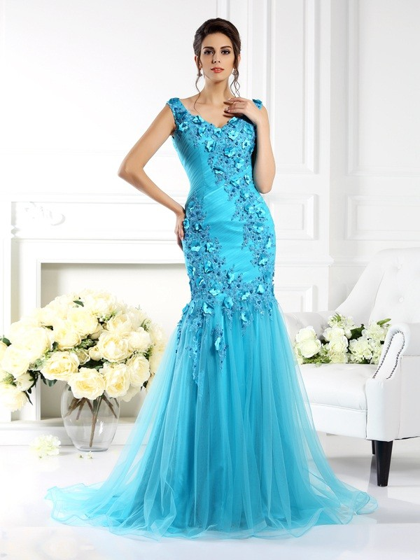 Exquisite Mermaid Straps Sleeveless Long Silk like Satin Dress