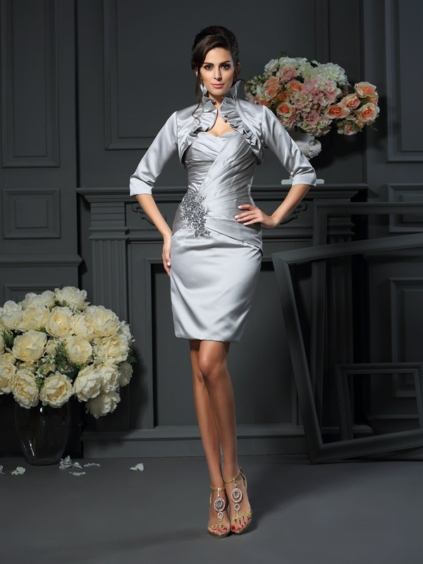 Exquisite Sheath Sweetheart Sleeveless Short Satin Mother of the Bride Dress