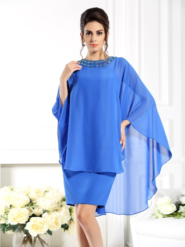 Exquisite Sheath Bateau 3/4 Sleeves Short Chiffon Mother of the Bride Dress