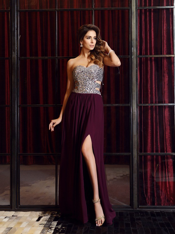 Exquisite A-Line Sweetheart Sleeveless Long Chiffon Dress