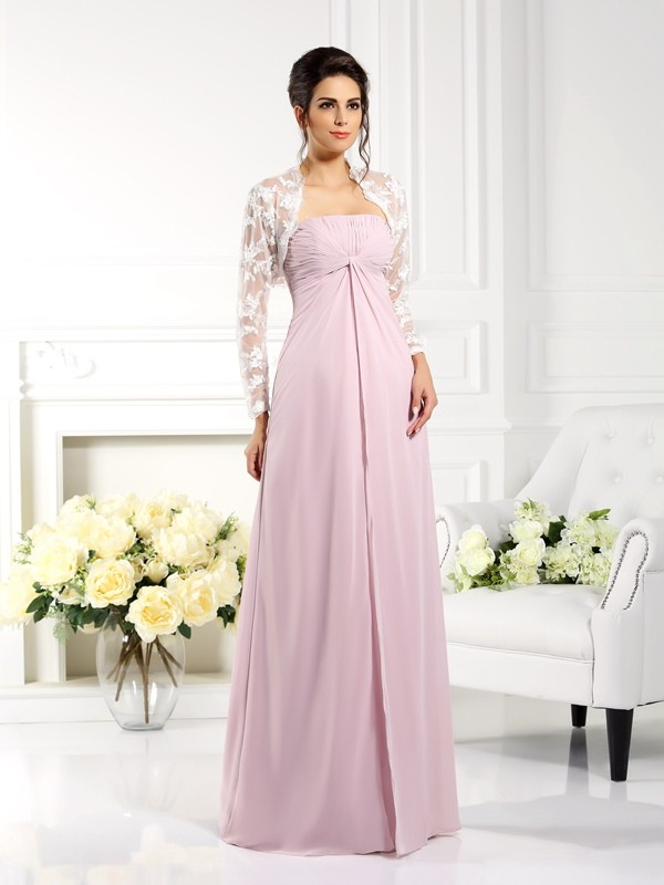 Exquisite A-Line Strapless Lace Sleeveless Long Chiffon Mother of the Bride Dress