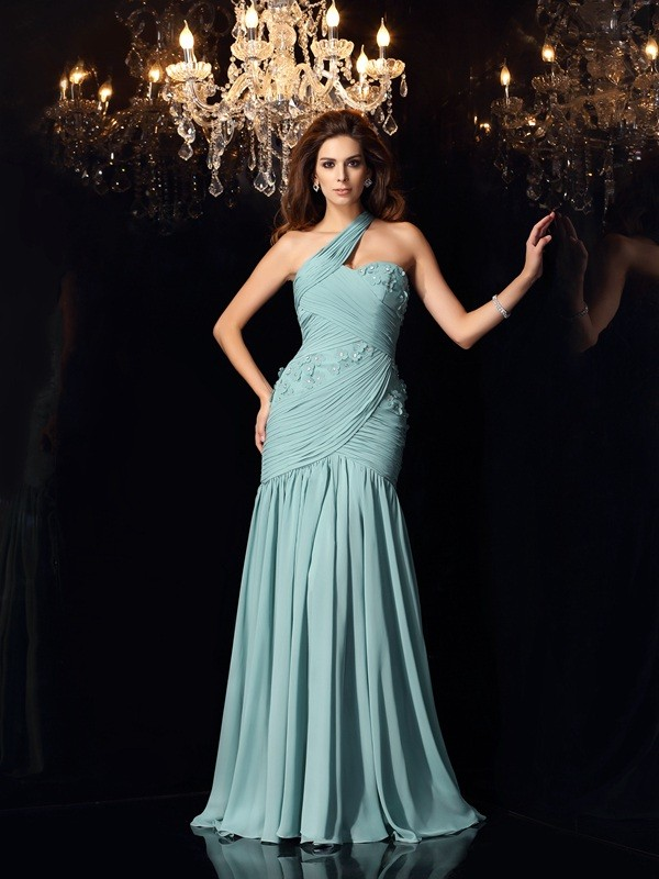 Exquisite Mermaid One-Shoulder Sleeveless Long Chiffon Dress