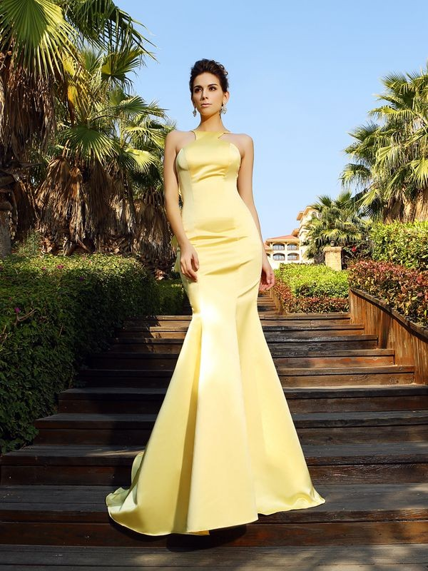 Exquisite Mermaid Scoop Sleeveless Long Satin Dress